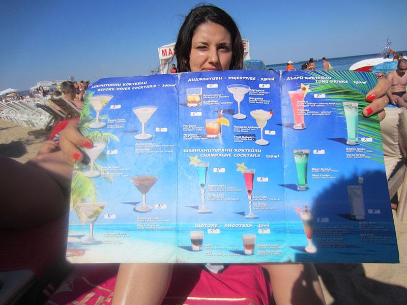 Partyurlaub Jugendreisen Goldstrand Bulgarien - Getränkekarte