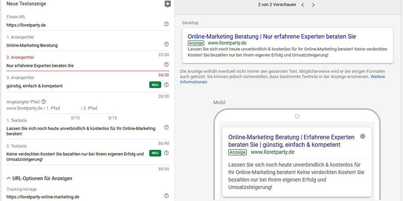 AdWords schalten am Beipspiel Keyword Online-Marketing - mobil -desktop