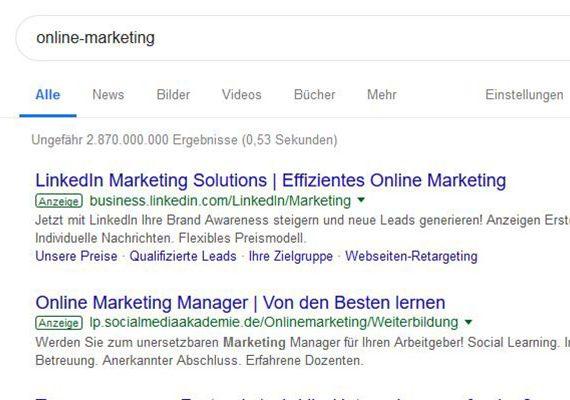 Beispiel für Google AdWords bei der Suche nach Online-Marketing