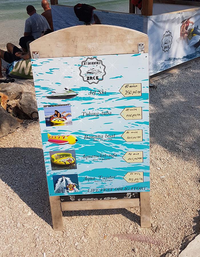 Preise am Zrce Beach - Wasserport - Jetski - Banana Boat - Aquarocket-Sofa