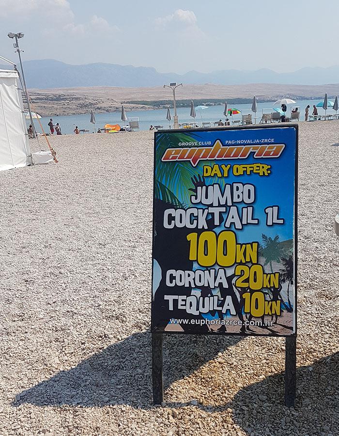 Preise am Zrce Beach für Jumbo Cocktails und Corona