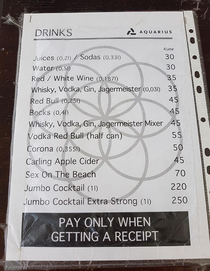 Preise am Zrce Beach für Cocktails und Longdrinks