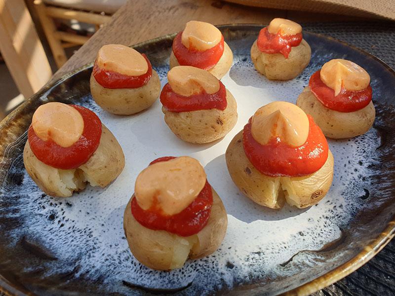 Vorspeise belegete Kartoffeln im Coco Beach House