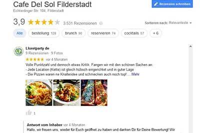 Bewertungsportale Umgang mit Kritik positiv und negativ - Beispiel Cafe del Sol Rezension