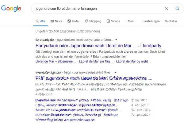 Lloretparty Google Top Platzierung Jugendreisen Lloret de Mar Erfahrungen