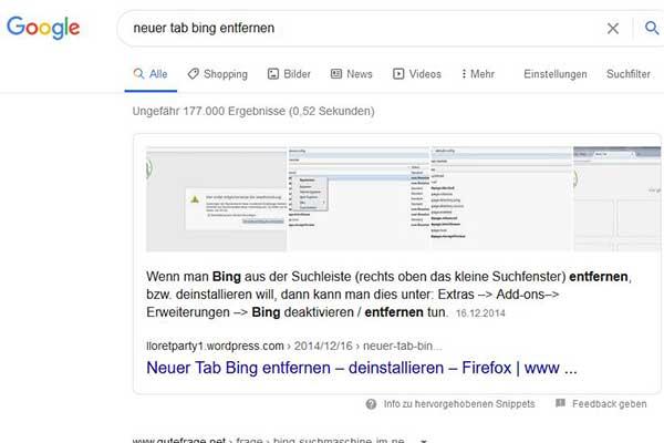 Lloretparty Google Top Platzierung Neuer Tab Bing löschen