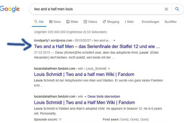 Lloretparty Google Top Platzierung Two and a half men Louis