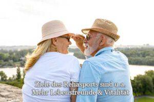 Rehabilitationssport Definition Voraussetzungen und Ziele hier älteres Paar mit Lebensfreude