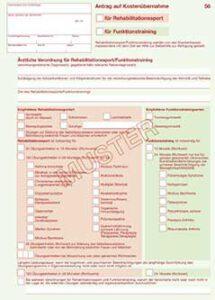 Rehasport Rezept ärztliche Verordnung Rehabilitationssport Muster - Informationen für Ärzte