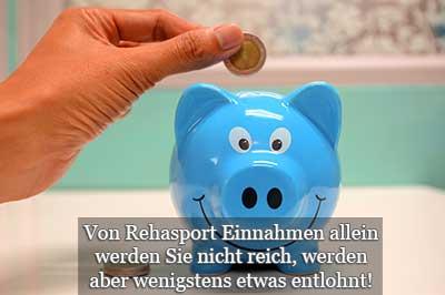 Rehasport Übungsleiter Verdienst Einnahmen und Pauschalen hier Sparschweinchen