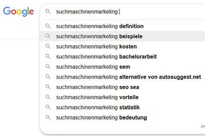 Suchmaschinenoptimierung Google Suchvorschläge für das Keyword Suchmaschinenmarketing