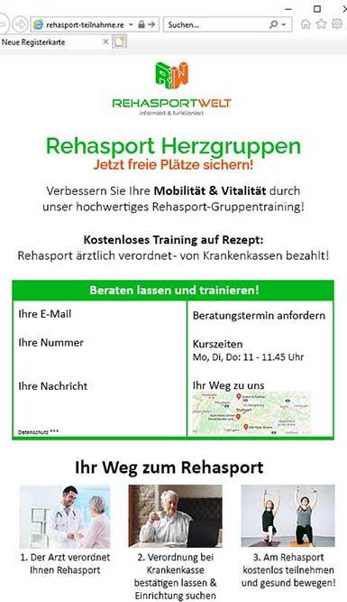 Aufbau einer Rehasport Landingpage am Beispiel Rehasportwelt